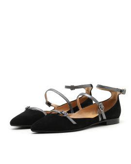 Triple strap ballerina shoes