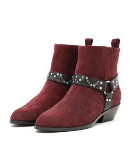 Studs belted ankle boots