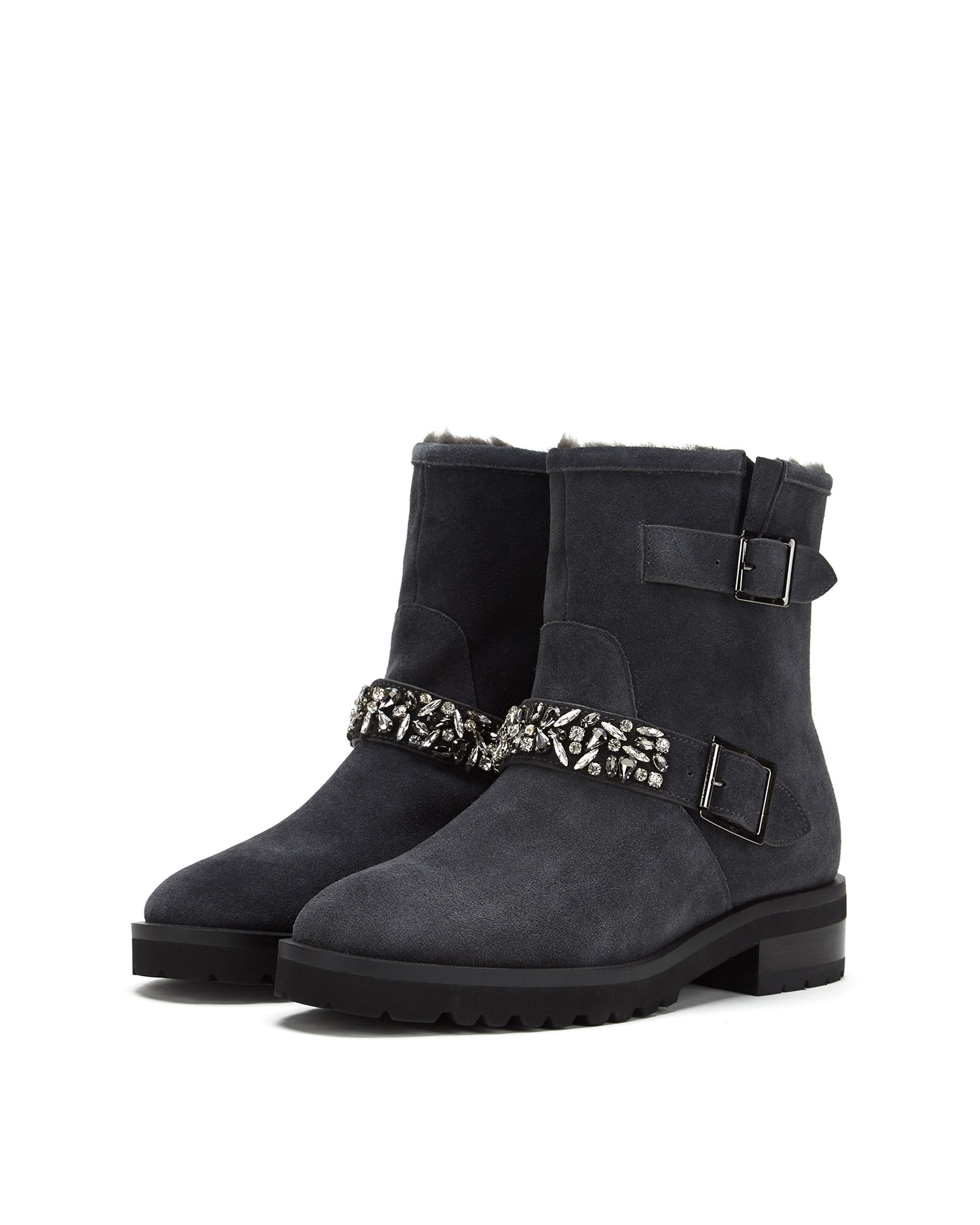 Embellished Furry Boots