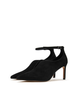Pointed suede heels