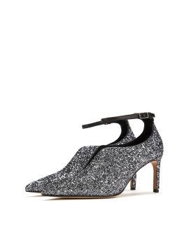 Pointed glitter heels