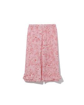 Floral print ruffles-trimmed pants