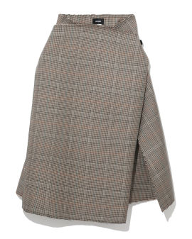 Asymmetric plaid skirt