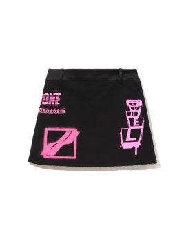 Logo print mini skirt