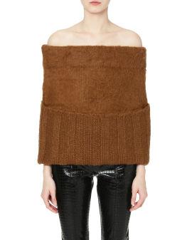 Off-shoulder knit tube top