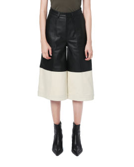 Contrast leather culottes