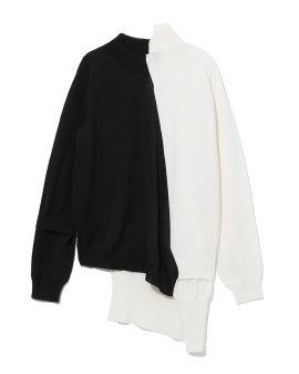 Asymmetrical colour blocked sweater