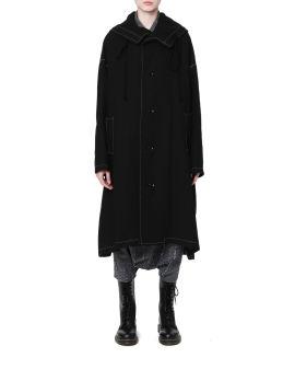 Contrast topstitching coat