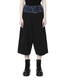 Denim discharge tie-dye wide-leg pants
