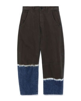 Asymmetrical dyed denim jeans