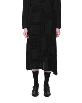 Houndstooth draped skirt