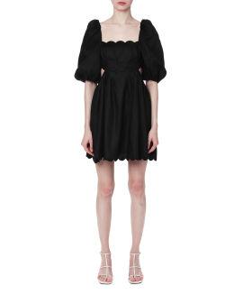 Scalloped linen dress