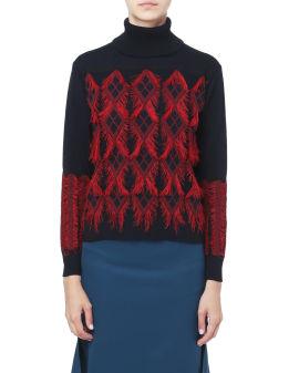 Fringe trim argyle sweater