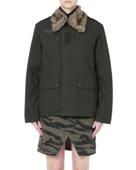 Fur collar graphic back jacket