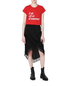 Logo motif lace trim skirt